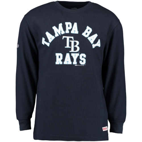 Tampa Bay Rays Stitches Wordmark Thermal Long Sleeve T-Shirt - Navy