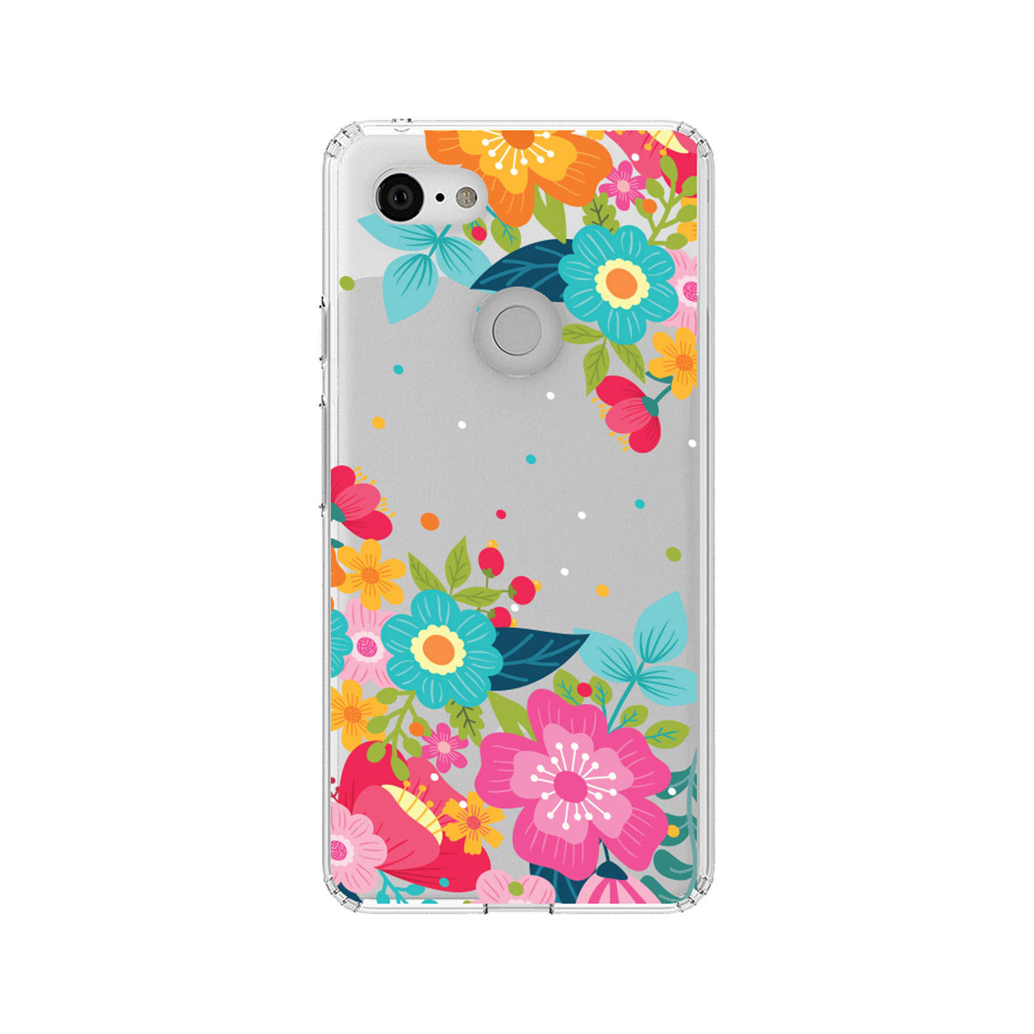 """DistinctInk Clear Shockproof Hybrid Case for Google Pixel 3 (5.5"""" Screen) - TPU Bumper, Acrylic Back, Tempered Glass Screen Protector - Bright Colored Flowers and Dots"""