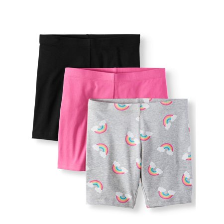 Solid and Printed Bike Shorts, 3-Pack (Little Girls & Big - Grils Clothing