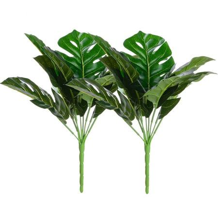 Artificial Plant Monstera Deliciosa Decor 2 Bundles Fake Shrubs Tropical Leaves Greenery Stems Palm Leaf Decor for Hawaiian Luau Party Decoration