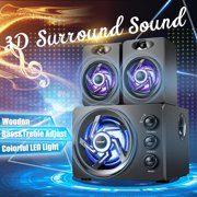 3 in 1 USB 2.1 Desktop Computer Speaker with Colorful LED Light Music Player Subwoofer Bass Audio Soundbox For PC Laptop Cellphone