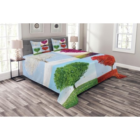 Adoration Quilts - Nature Bedspread Set, Heart Shaped Trees in Four Seasons of Year Love and Adoration Themed Illustration, Decorative Quilted Coverlet Set with Pillow Shams Included, Multicolor, by Ambesonne