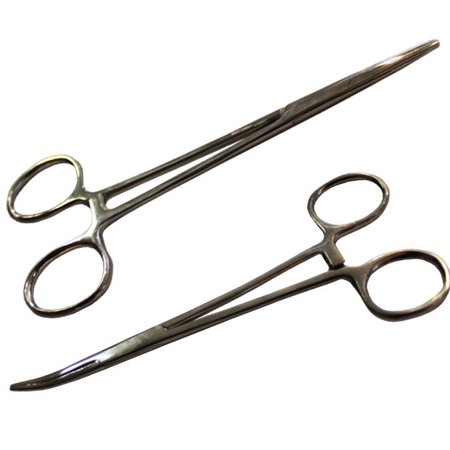 """5.5"""" Hemostat Forceps Locking Clamps Stainless Steel Set of 1 Straight 1 Curved"""
