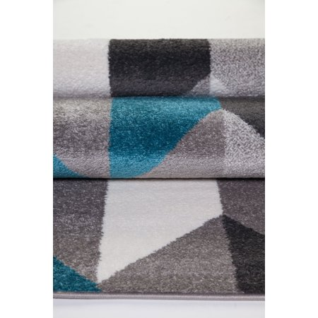 Geometric Pattern Honeycomb Area Rug Carpet In Blue Grey