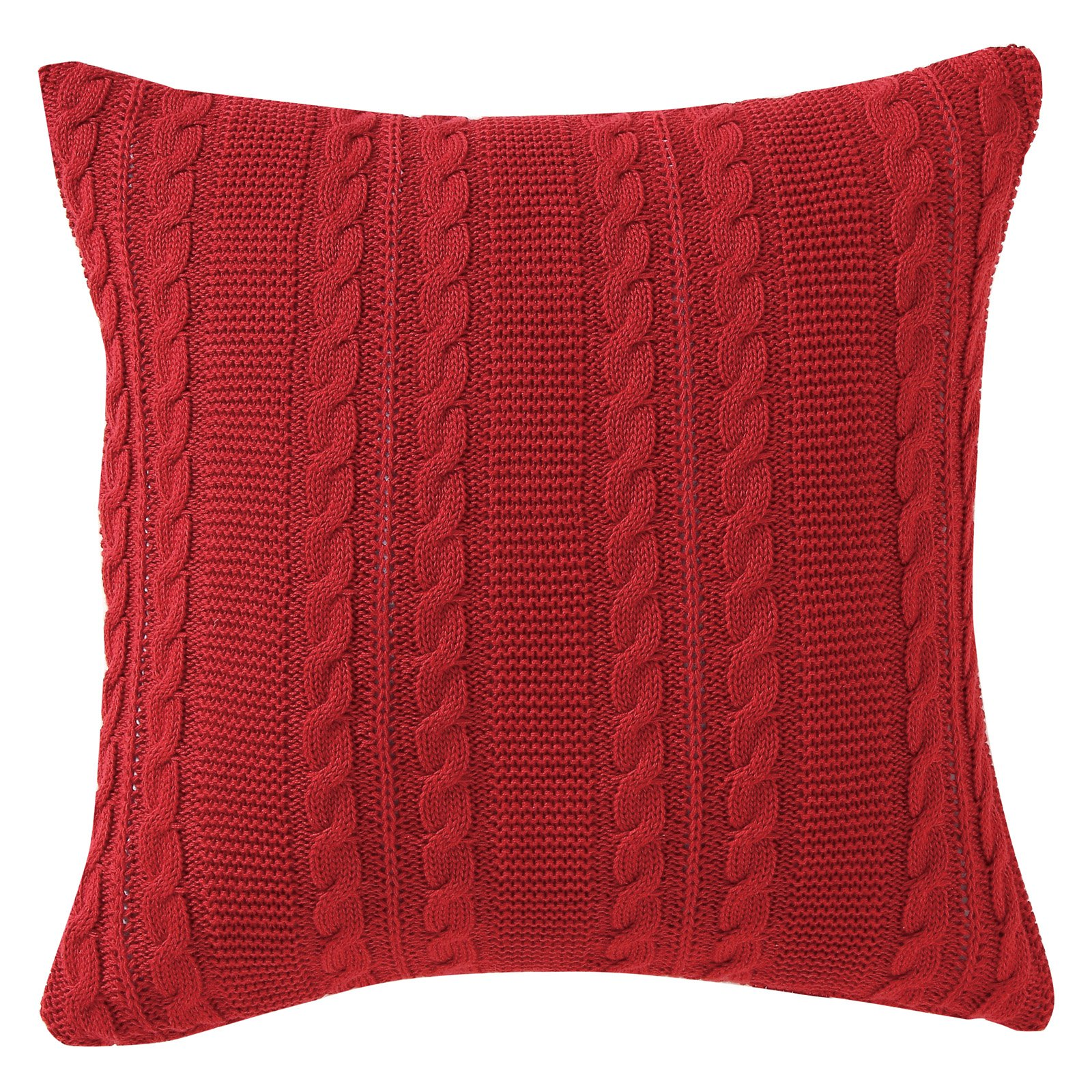 "VCNY Home Dublin Cable Knit Square Decorative Throw Pillow, 18"" x 18"", Navy Blue"