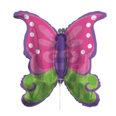 Pack of 10 Metallic Butterfly Purple Pink and Green Foil Party Balloons with Sticks 30