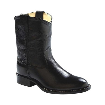 b3813f21cf Old West - Old West Cowboy Boots Boys Girls Kids Roper Leather Black  CRY4110G - Walmart.com