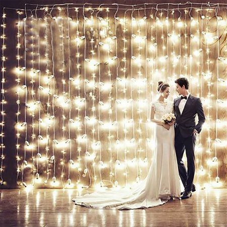 300pcsLED Curtain Lights Wall WindowString Lights For Home Bedroom Bookcase Wedding Christmas Party Decoration (8-Function Control/ Music Control) ()
