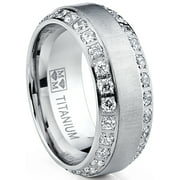 Men's Titanium Dome Brushed Finished Wedding Band Engagement Ring with Cubic Zirconia, 8mm