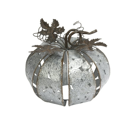 Gerson 11.42-Inch Patterned Cut Out Silver Metal Pumpkin with Leaves](Pumpkin Pattern)