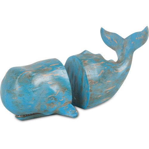 Mercana   Langdon Blue Resin Whale Bookends (Set of 2)