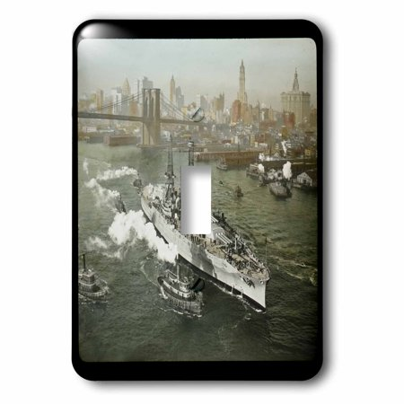 3dRose World War II American Battleship on the Hudson River New York City - Single Toggle Switch (lsp_16088_1) (New Hudson Single)