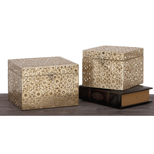 Urban Designs Champagne Keepsake 2 Piece Decorative Box Set