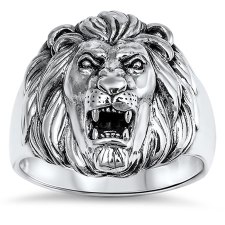 - Men's Great Lion Roar King Mane Ring ( Sizes 8 9 10 11 12 13 ) New .925 Sterling Silver Band Rings by Sac Silver (Size 13)