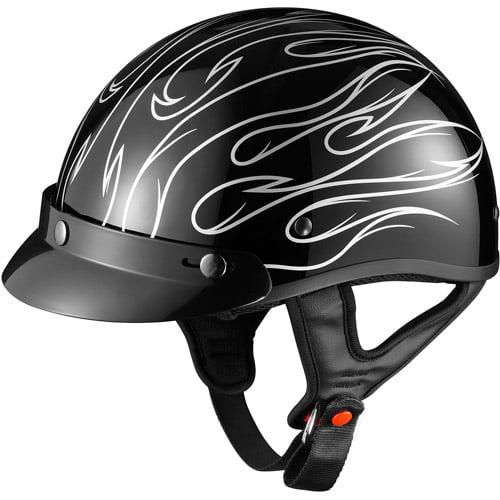 GLX DOT Half Motorcycle Helmet, Stria Silver, XXXL