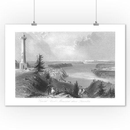 Village Monuments (Queenston, Ontario - View of General Brock's Monument above the Village (9x12 Art Print, Wall Decor Travel Poster) )