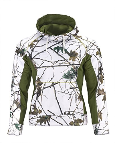 Trail Crest Men's Snow Camo Soft Shell Hooded Jacket, 2X, Snow Camo & Green by