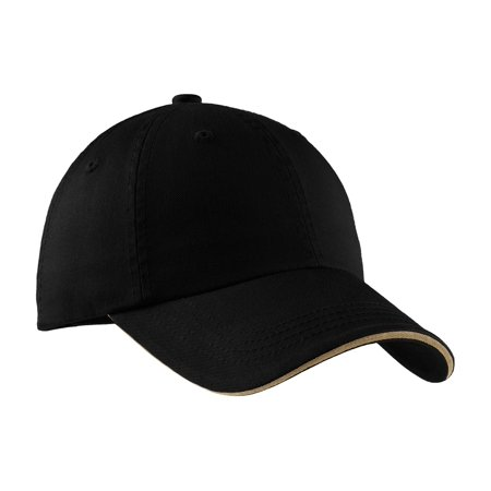 Port Authority C830 Sandwich Bill Cap with Striped Closure, Black/ Khaki, OSFA