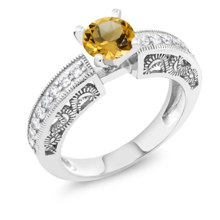 1 29 Ct Round Yellow Citrine 925 Sterling Silver Ring