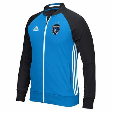 (San Jose Earthquakes MLS Adidas Blue Anthem Full Zip Track  Jacket For Men)