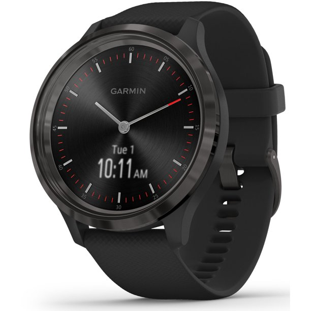 Garmin Vivomove 3 Hybrid Smartwatch with Silver Stainless Steel Bezel and Black Case