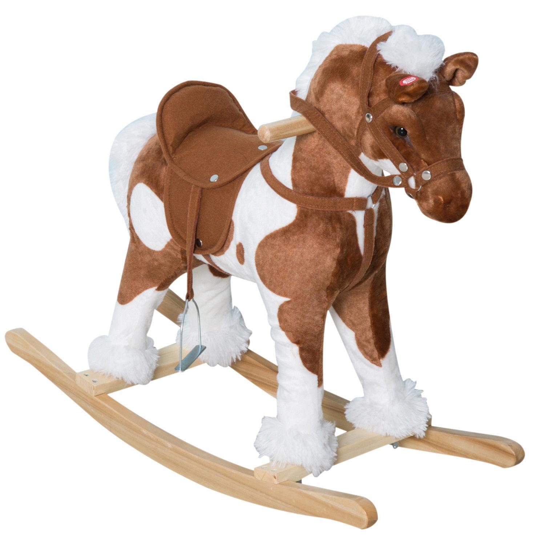 Qaba 24 Plush Ride On Rocking Horse with Sound - Light Brown/White