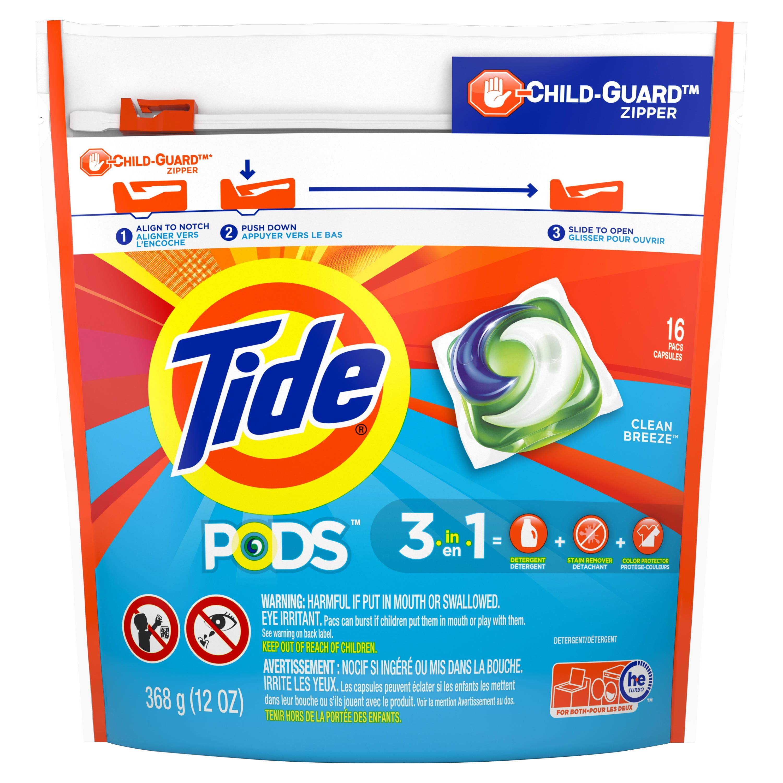Tide PODS Liquid Laundry Detergent Pacs, Clean Breeze, 16 count
