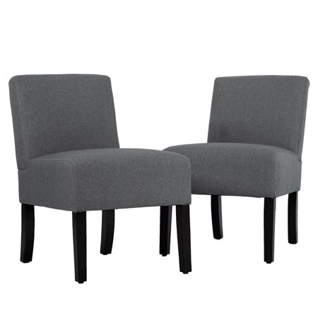 . Living Room Chairs Upholstered Accent Chair  Sofa Club Side Chair Fabric  Armless Chair Set Of 2