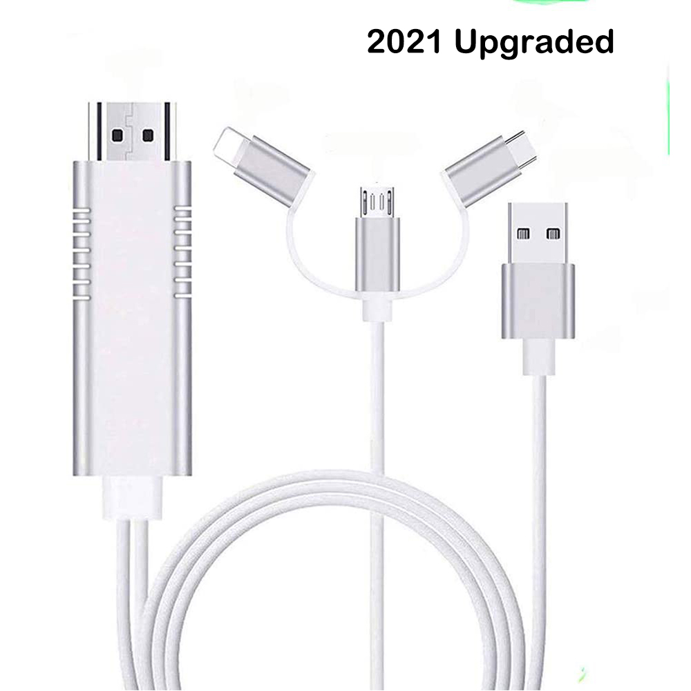 Lighting to HDMI Adapter Compatible with iPhone iPad Lighting Digital Adapter 1080p HD TV Connector Cable Compatible with iPhone Xs Max XR X 8 7 iPad to TV Projector Monitor White
