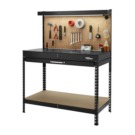 2 Station Workbench - Hyper Tough 46-Inch Easy Assembly Workbench with LED Light, Peg Hooks and Drawer Liners