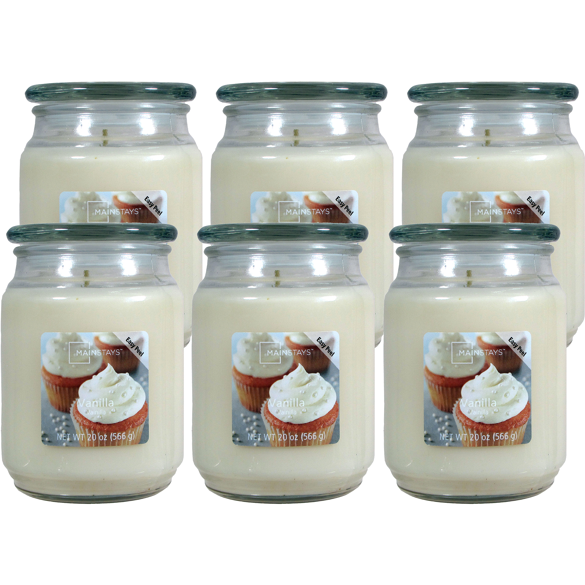 Mainstays 20-oz. Jar Candle, Vanilla, Set of 6