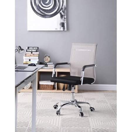 Hodedah Black Mesh, Mid-Back, Adjustable Height, Swiveling Desk Chair ()