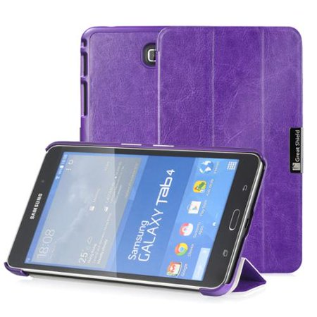 GreatShield-SLEEK-Slim-Hard-Leather-Stand-Case-Folio-Flip-Cover-for-Samsung-Galaxy-Tab-4-7-0-inch-Tablet-Purple-