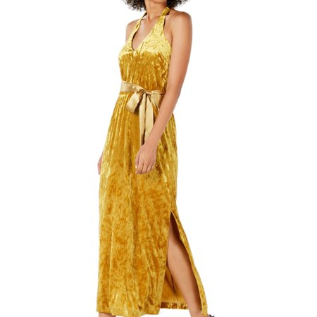 Women's Dress Yellow Maxi Crushed-Velvet Belted 8 Sleeve Belted Maternity Dress