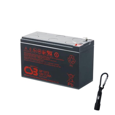 CSB GP1272F2 12 Volt 7.2 Amp Hour SLA Sealed Lead Acid Battery - Complimentary Neptune LED Flashlight