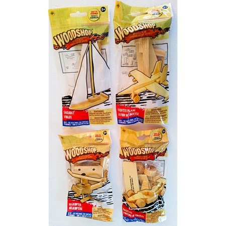 Woodshop DIY Wood Model Kits - Fighter Plane, Race Car, Helicopter and Sailboat OR Pirate Ship Kids Set of 4 - Wood Boat Kits