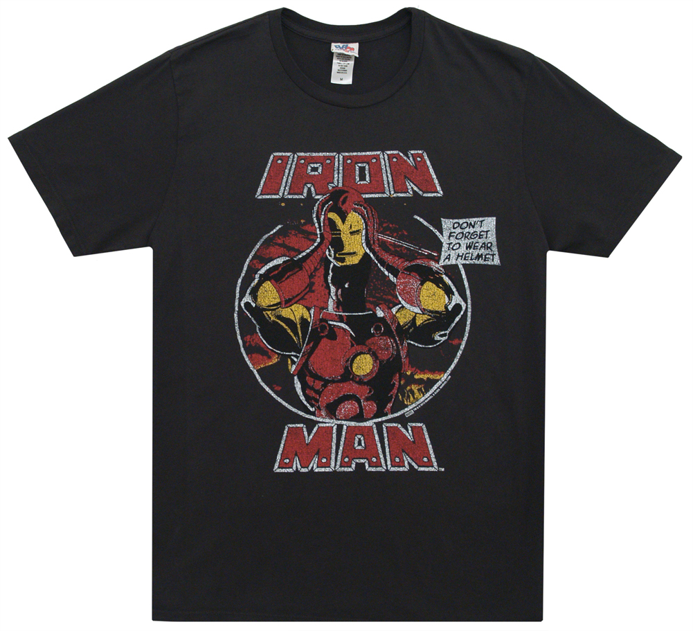 Iron Man - Don't Forget To Wear A Helmet Soft T-Shirt - Large