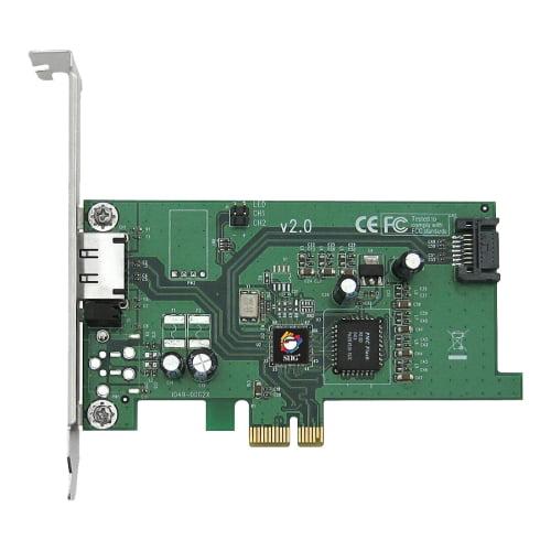 SIIG SC-SAE212-S2 SIIG eSATA II PCIe i/e Adaptor - 1 x 7-pin Serial ATA/300 Serial ATA Internal, 1 x 7-pin Serial ATA/300 External SATA External