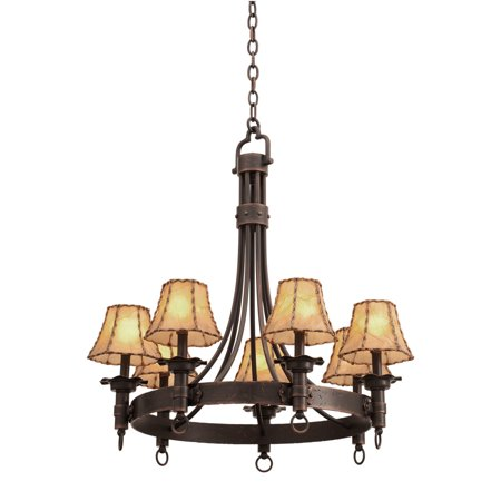 Chandeliers 7 Light With Black Finish Hand Forged Wrought Iron E12 80 inch 280 Watts