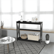 Topeakmart 2-Tier X-Design Console Table Sofa Side End Table Accent Table Entryway Living Room Black