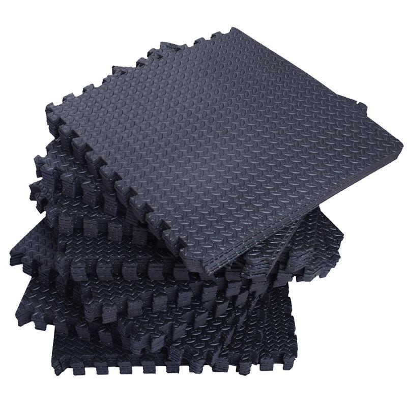 "Soozier 216 sq ft Exercise Interlocking Protective Flooring - (54) 24"" x 24"" x 3/8"" Tiles - Black"