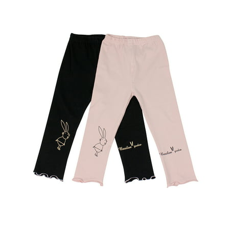 Ultra Soft Kid's Cotton Capri Bunny 2 Pack Pink/Black 3T