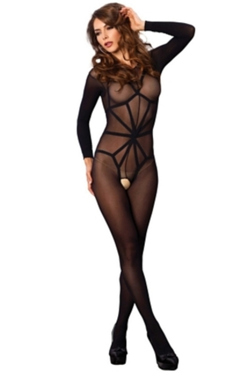 One Size Fits Most Womens Long Sleeved Bodystocking With Illusion Cage Teddy,