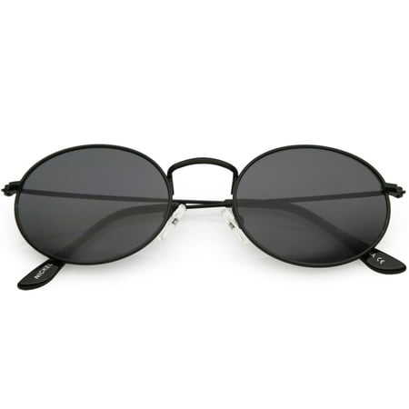 Small Metal Oval Sunglasses Slim Arms Neutral Colored Lens 51mm (Black / (Multi Colored Lens Sunglasses)