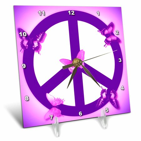 3dRose Pink and Purple Peace Sign and Butterflies- Inspirational Art, Desk Clock, 6 by 6-inch