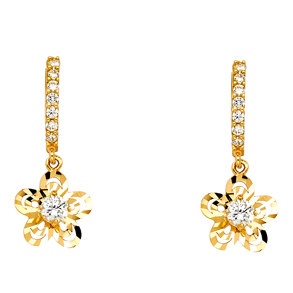 14K Gold CZ Stone Flower Dangle Hanging Drop Huggies Hinged Earrings Ioka