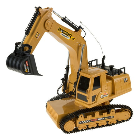 Remote Control Tractor Excavator Construction Toy with Movable Claw, Rechargeable Battery with Sound for Boys and Girls by Hey! Play!