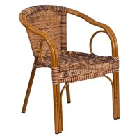 Flash Furniture Cadiz Series Burning Brown Rattan Restaurant Patio Chair with Dark Red Bamboo-Aluminum Frame by Flash Furniture