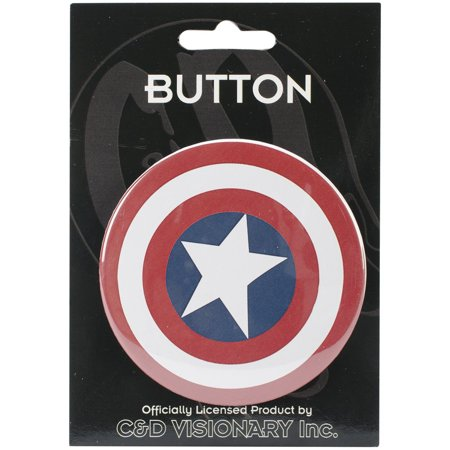Shield 2.25 Button (C&D Visionary 3-Inch Button, Large, Captain America Shield, C&D VISIONARY-Large Button By CD Visionary From USA )
