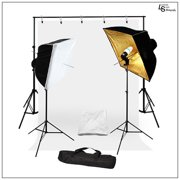 Square Umbrella Continuous Light Kit with Muslin Backdrops and Backdrop Support System for Photography by Loadstone Studio WMLS0963